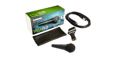 Shure PGA58-XLR wired handhel microphone with 15ft XLR cable, bag & clip NEW