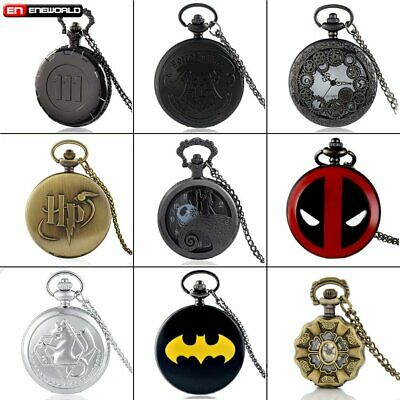 Antique Vintage Pendant Pocket Watch Quartz Necklace Chain Retro Stainless Steel