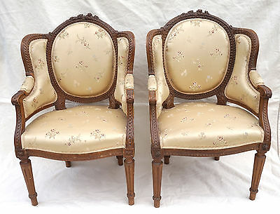 Rare French Pair Child Arm Chair Bergere Louis XVI Style Carved Wood Flower 19 C
