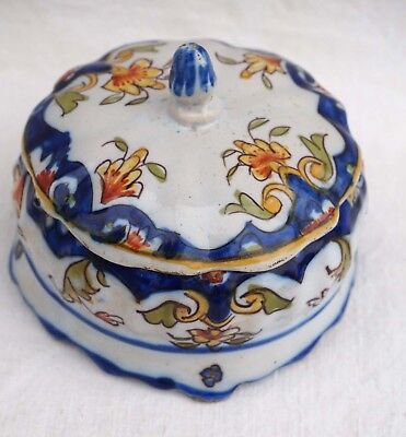 DESVRES Fourmaintraux Lidded Candy Box French HAnd Painted Faience Late 19 th C
