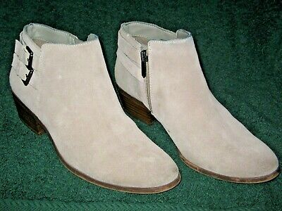 60a031eb8 SAM EDELMAN TAUPE Gray Fringe Suede Leather Ankle Zip Boots Booties ...