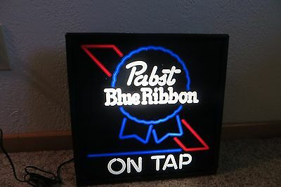 Original Pabst Blue Ribbon On Tap lighted working beer company advertising sign