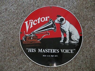 Victor His Master's Voice record player ,trademark G.E.ADVERTISING VINTAGE SIGN