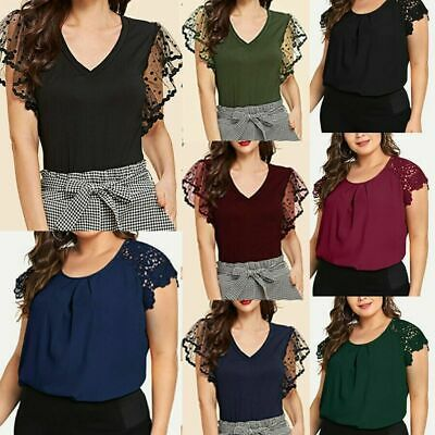 Womens Ladies Plus Size Solid O-Neck Floral Lace Shoulder T-shirt Tops Blouse TE