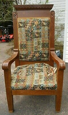 Antique Carved Oak Church / Throne Chair ~ Large