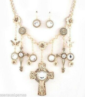 Cross Pendant Women Multi Charm Dangles Necklace Silver Plated New
