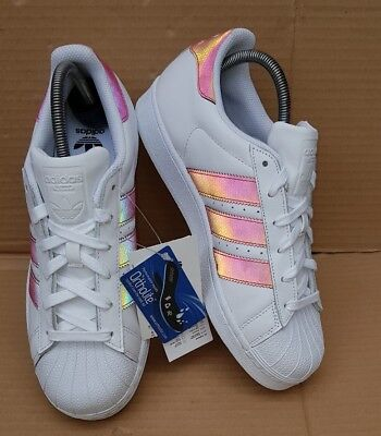 18bd0c824fc5 Bnib Adidas Superstar Holographic White Iridescent Trainers Size 5 Uk Rare  New
