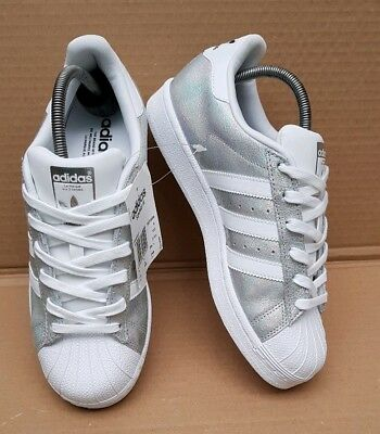 80fb1a7d2da0 Bnwt Adidas Superstar Trainers Size 6 Uk Holographic Silver Foil Iridescent  New