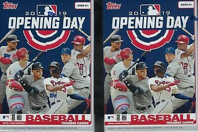(2) 2019 Topps OPENING DAY Baseball MLB Trading Cards 11p Retail BLASTER BOX LOT
