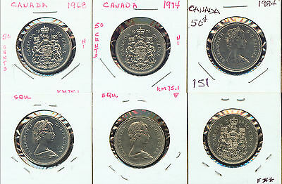 World Coins Canada 1968, 1974, 1984 50 Cents (G650)