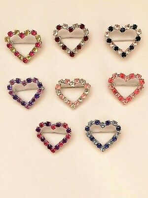 Vintage (LOT OF 25 PCS) Rhinestone Open Heart Brooch With Silver Tone Back