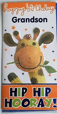 Happy Birthday Grandson Hip Hip Hooray 3D Knitted Giraffe Effect Birthday Card