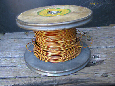 '50s ESSEX CLOTH WIRE w WOOD SPOOL 18awg/2 lbs VARNISHED FIBER-GLASS COVERED vtg
