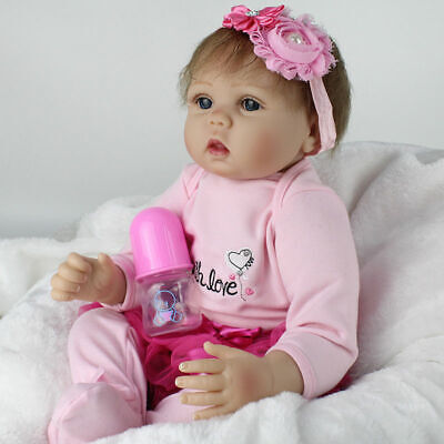 "22"" Lovely Newborn Baby Girl Doll Lifelike Realistic Toddler Reborn Silicone Toy"