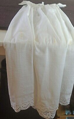 ANTIQUE EDWARDIAN CHRISTENING GOWN DRESS with EYELET TRIM UU485