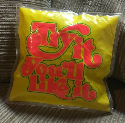 """Vintage Try It You'll Like It 1970s Inflatable 12"""" x 12"""" Pillow Old Store Stock"""