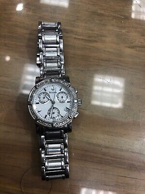 Bulova Ladies Diamond Studded White Dial Chronograph Date Watch Mother Of Pearl