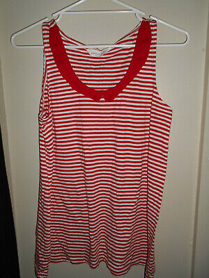 Ladies Sleepwear Top Red White Striped Peter Alexander Size S