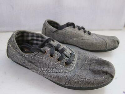 5fdfac87c5b Toms Cordones gray gold sparkle lace up slip on flat loafer womens 6 laces