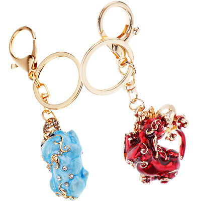 2xHandmade Pi Xiu Lucky Keychains to Bring Wealth Fortune Car(Red,Blue)