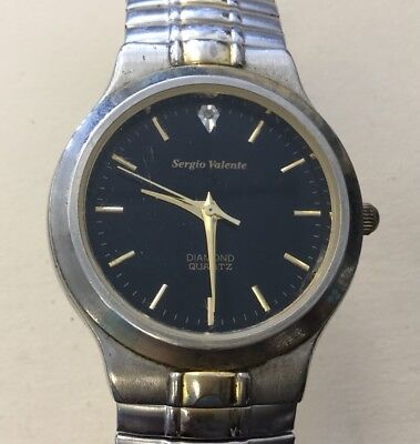 Vintage Mens Sergio Valente Unadj. No Jewels Diamond Wrist Watch-Works BRR8