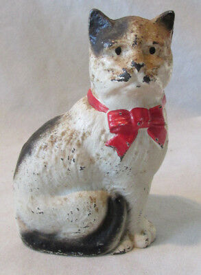 """Hubley ANTIQUE Painted CAST IRON SITTING CAT 4"""" Kitty BANK 1900s Original Old"""