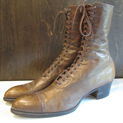 Antique Victorian Edwardian Tan Dr. Kahler High Lace Up Shoes Boots Leather Old