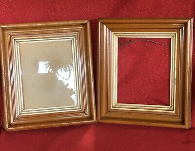 PAIR Matching Antique Victorian Walnut Deep Well Picture Frame W Glass