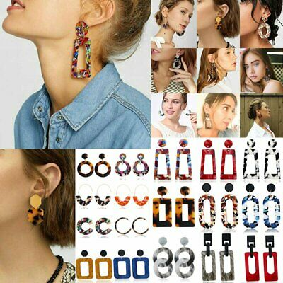Bohemia Acrylic Acetate Leopard Hoop Dangle Stud Earrings Women Wedding Jewelry