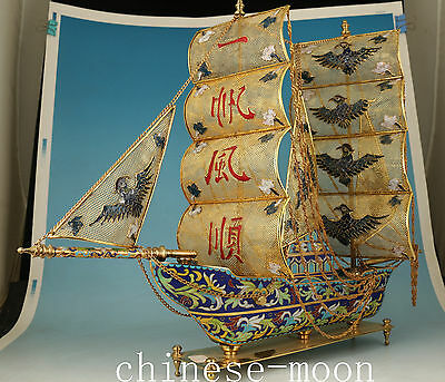 1.8KG rare Chinese copper Cloisonne Sailing boat Statue figure collectable