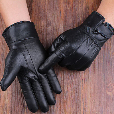 Mens Leather Lined Gloves Winter Windproof Warm Driving Full Finger Mittens AU