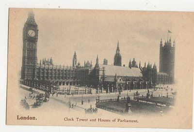 London Clock Tower & Houses of Parliament Vintage Postcard 471a