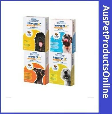 Interceptor Spectrum for Dogs all sizes 6 chews Heartworm treatment by Novartis