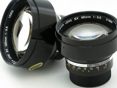 2 Lens Lot: Two Vintage Canon Camera Lenses+Hoods+Cases 95Mm & 125Mm T-65 Japan