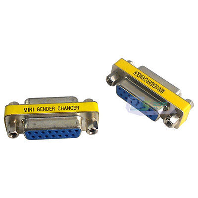 VGA DB15 15Pin Female to Female F/F Jack Socket Gender Changer Adapter Connector