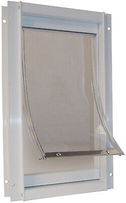 Extra Large Pet Door XL Aluminum Clear Magnetic Dog Flap Insulated White Dogs
