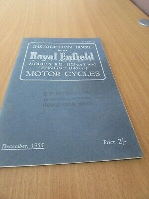 Royal Enfield Instruction book 2nd Edition 1955, Models R.E. (125cc) & Ensign