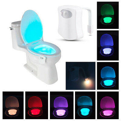 New Toilet Bowl Light Motion Activated LED 8 Color Auto Bathroom Kids Night Lamp