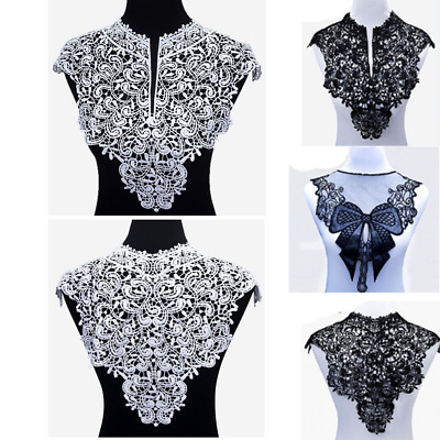 Black&White Embroidery BigsFlowers Lace Neckline Fabric DIY Collar Sewing Craft