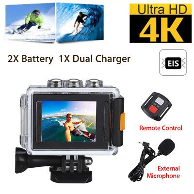 WiFi 4K EIS Waterproof Sports Action Video Camera 170° +Dual Battery Charger Set