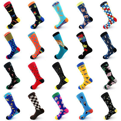 Fashion Men Women Socks Combed Cotton Animal Fruit Bird Breathable Joyous Socks