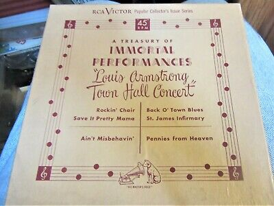 LOUIS ARMSTRONG Town Hall Concert 45 rpm VINYL 4 Records Vintage  RCA 1948 music