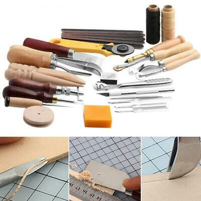 25Pcs DIY Handwork Sewing Stamping Saddle Punch Tools Stitching Leather Craft