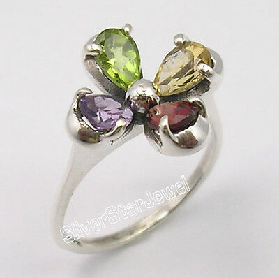 .925 Pure Silver MULTICOLOR MULTIGEMSTONE LADIES' FASHIONABLE Ring Any Size NEW