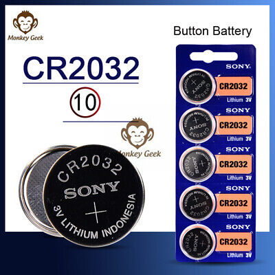 10pcs Sony CR2032 CR 2032 3V Button Coin Cell Battery Brand new Genuine EXP202