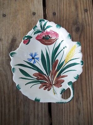 Vintage ELBEE Italy Leaf Shaped Dish Signed Numbered 109/1048 Bright Floral