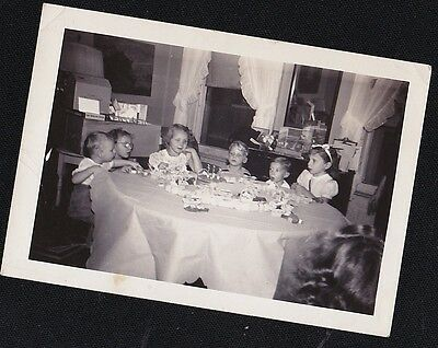 Antique Photograph Children Sitting Around Table With Birthday Cake & Toys