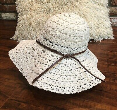 060c6ed0 VTG BoHo Hippie Festival Chic Cream Eyelet Wide Brim Floppy Summer Beach Hat  S/M