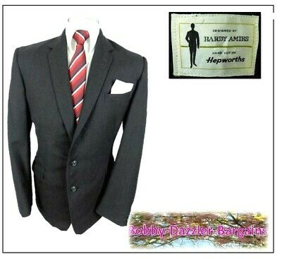 "Hardy Amies Hepworths Mens Sports Jacket Blazer Ch40""R Charcoal Herringbone 1960"
