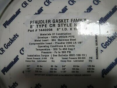 """PFAUDLER 2116908 6/""""I.D GASKET TYPE CR STYLE NS W// HANDHOLE CLIPS X 8-1//2/""""O.D"""